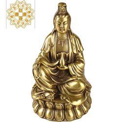 开光纯铜南海坐莲观音菩萨佛像如意纳福保平安观音佛像供奉 家用