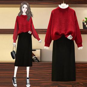 冬裙女洋气甜美减龄气质过年红色毛衣加针织半身裙秋冬季两件套装