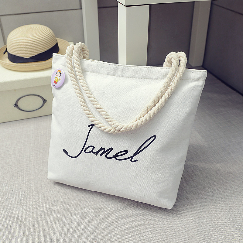Korean art canvas bag student Shoulder Bag Handbag womens bag letter canvas bag simple hemp rope Sen womens bag