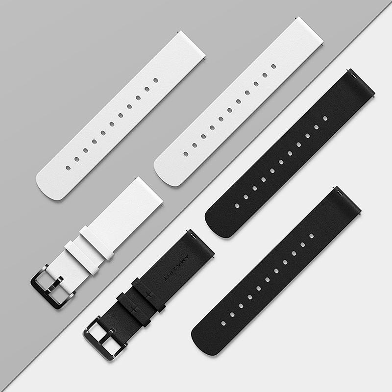 Amazfit 表带 真皮系列 黑色白色手表腕带20mm&22mm宽度  男女 快拆式