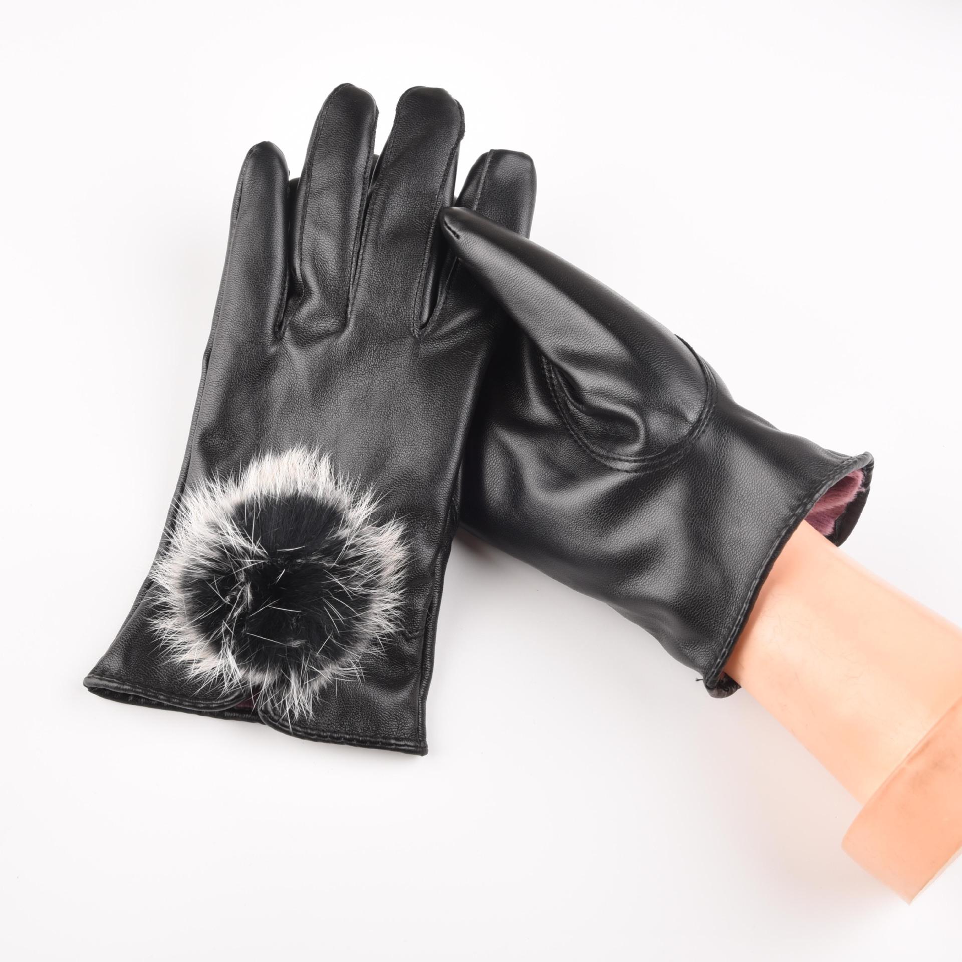 厂家直销供应女士冬季獭兔毛球触屏皮手套多功能半PU保暖骑行手套