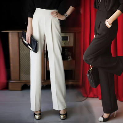 2016 Korean spring and summer new ol high waist SLIM STRAIGHT pants professional trousers wide leg trousers womens pants