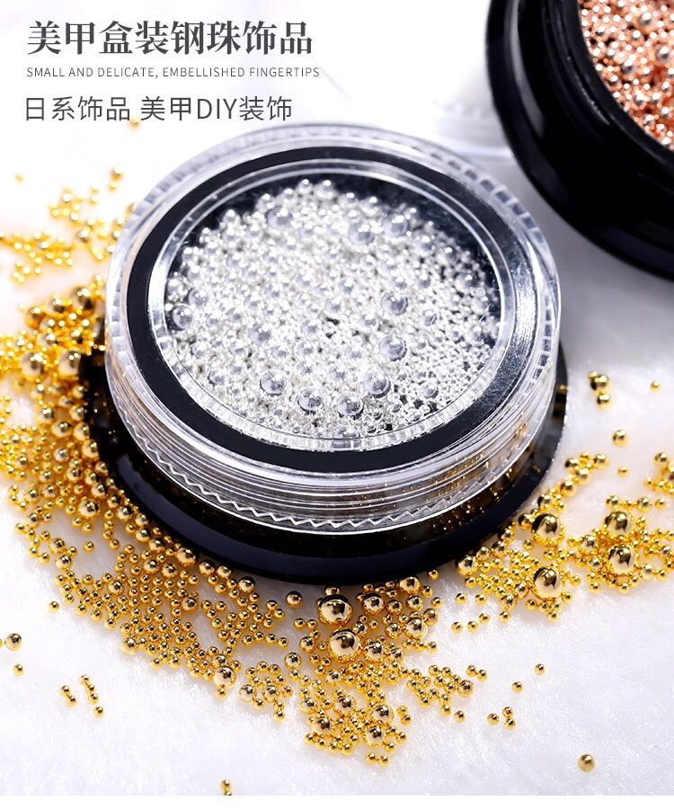 No fading nail small steel ball size mixed suit rose gold silver steel ball box Multi Size alloy jewelry