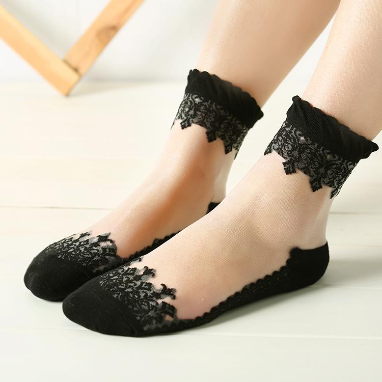 袜子女纯棉中筒短袜浅口韩国可爱水晶袜蕾丝隐形透明薄款棉底丝袜