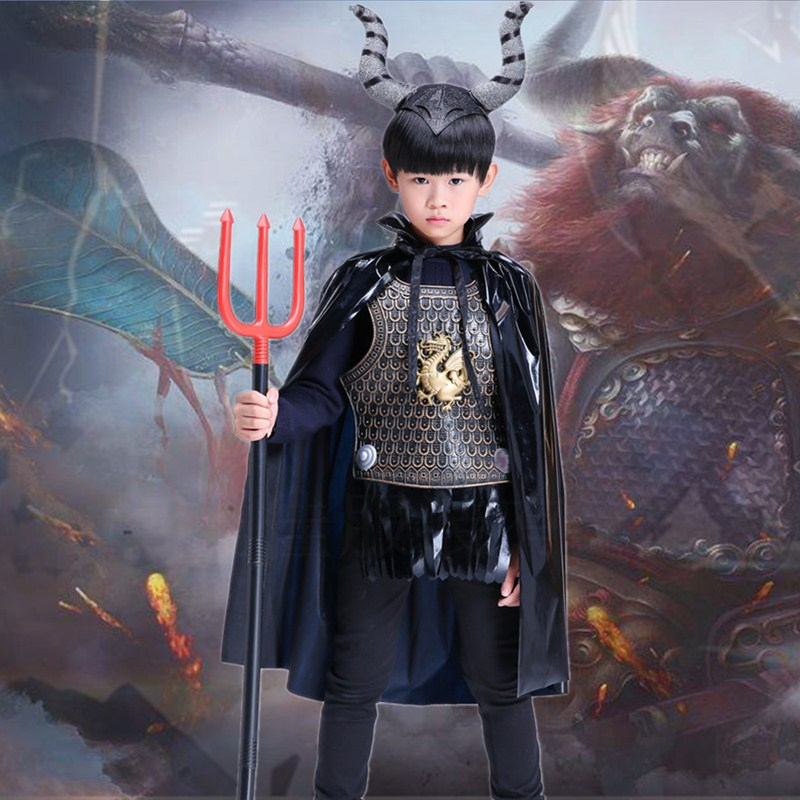 Halloween costumes childrens mens and womens performance props devil disguise Cape ox horn ox devil Trident Cape suit