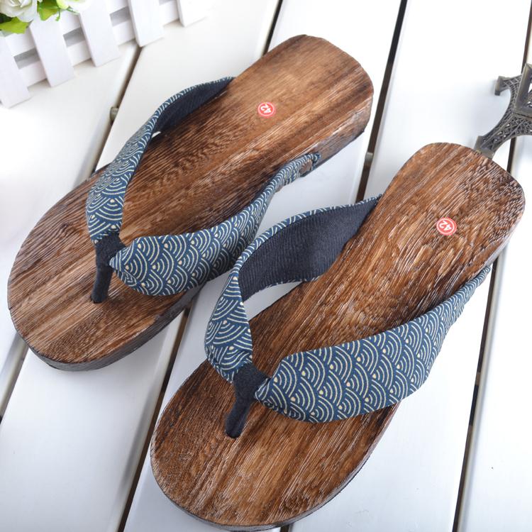 包邮 绅士和服烧桐男式款木屐方头 木屐拖鞋人字夹脚拖鞋 木板鞋