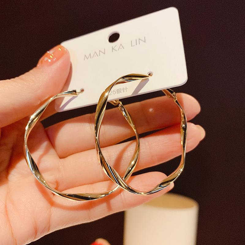 欧美夸张圆圈金属耳圈女韩国气质大圈圈s925银针个性百搭网红耳环