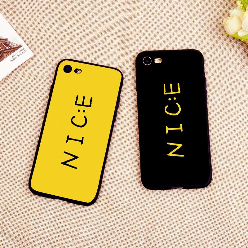 日韩NICE笑脸iPhone6s手机壳苹果X硅胶7plus磨砂套8情侣创意个性
