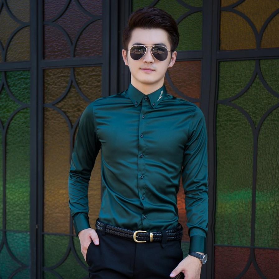 Smooth embroidery mens youth long sleeve no iron Shirt New Fashion embroidered shirt Qi Tongwei same shirt