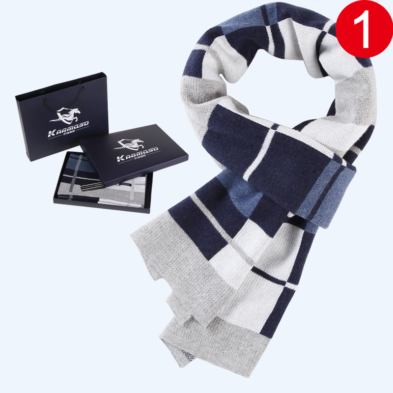 Mens scarf autumn and winter Korean version fashionable and versatile simple knitting students young peoples high-end birthday gift box