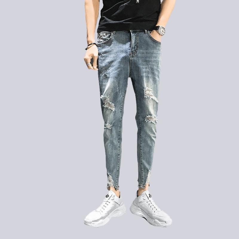 潮男九分小脚裤夏季薄牛仔裤男士破洞修身乞丐裤9分百搭潮流长裤