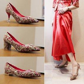 秀禾中式细跟女2020新款百搭新娘鞋