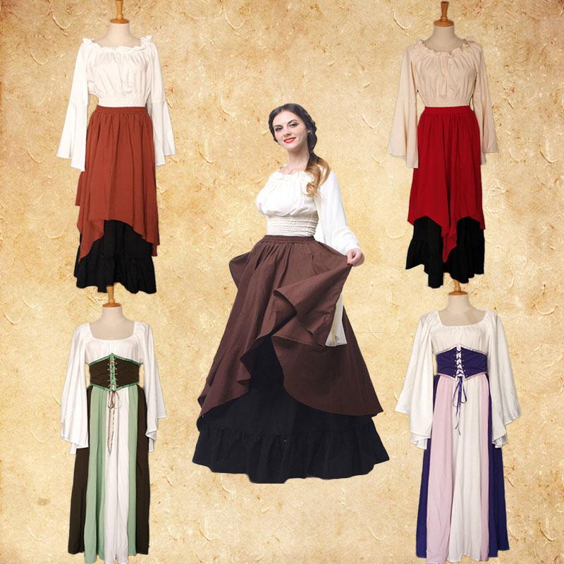 欧洲中世纪平民小姐夫人女裙白雪公主灰姑娘莎士比亚话剧服装出租
