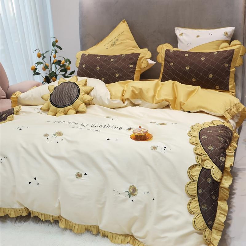 田园风向日葵60支埃及长绒棉四件套简约刺绣被套花边纯棉床上用品