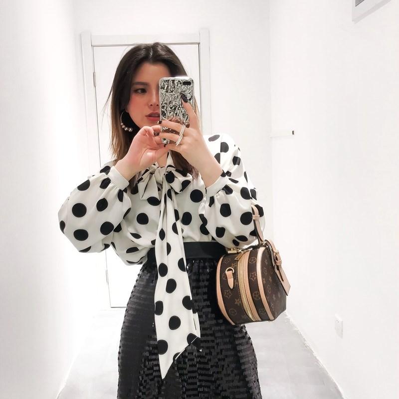 CICI复古款 2018夏装新款女装 衬衫系带雪纺优雅波点蝴蝶结定制