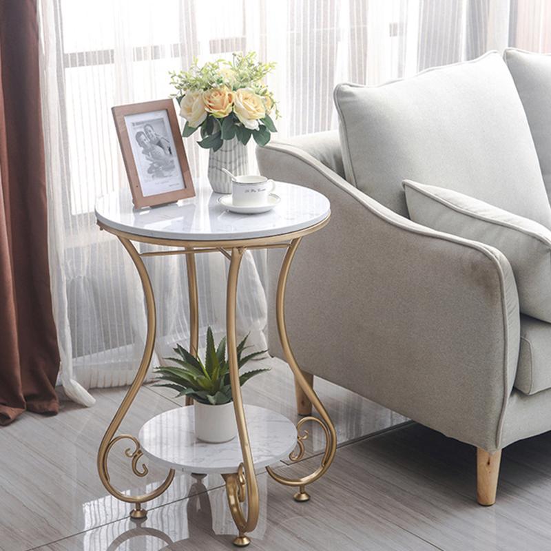 北欧大理石岩板茶几现代简约客厅阳台沙发边几家用小户型轻奢角几