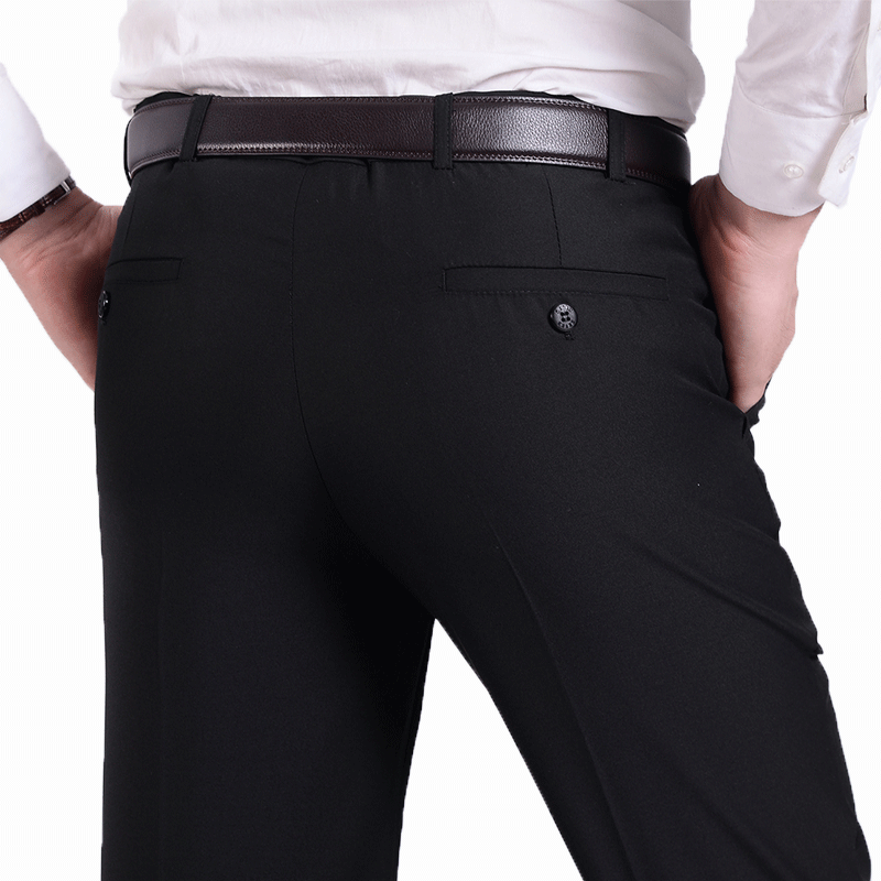 Mens professional trousers autumn formal wear pure black work trousers slim fit business non iron middle-aged and young suit trousers