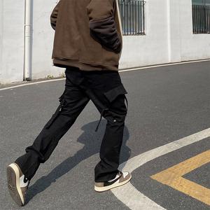SG707 欧美高街潮牌vibe风飘带微喇叭绑带裤宽松直筒休闲工装裤男