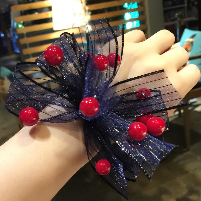 韩版蕾丝网纱发圈钉珠水晶珍珠吊坠多层蝴蝶结发绳樱桃点点发饰品