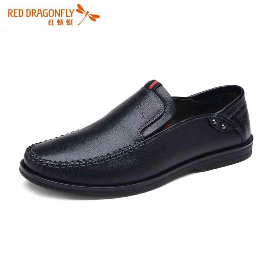 红蜻蜓男鞋真皮商务休闲鞋男士皮鞋春秋爸爸鞋头层牛皮软皮软底