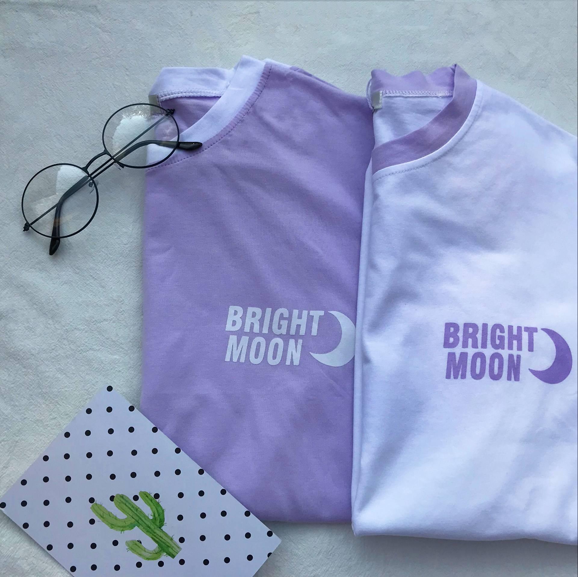 韓國軟妹少女印花月亮moon字母寬鬆圓領紫色短袖T恤上衣chic夏潮