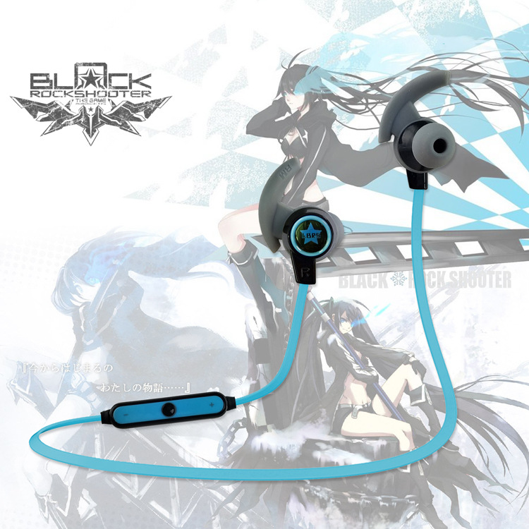 Animation surrounding black rock shooter outdoor sports bass stereo wireless Bluetooth headset