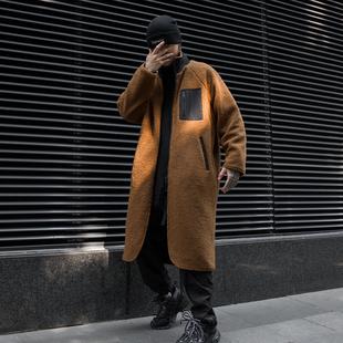 冬季男士中长款正反两穿保暖外套休闲韩版ins潮流男装羊羔毛风衣