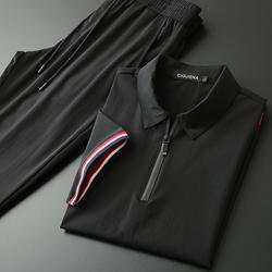 夏季超薄翻领绅士商务休闲套装男士清凉撞色螺纹短袖运动休闲套装