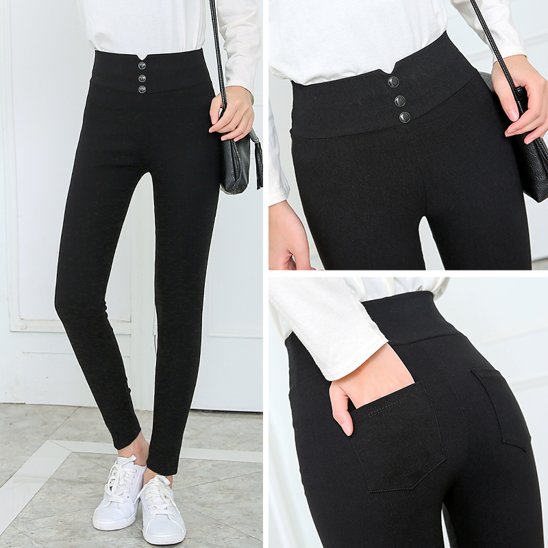 Spring and autumn bottoming pants wear thin high waist tight fit large size nine point pants pencil small black pants small feet pocket pants