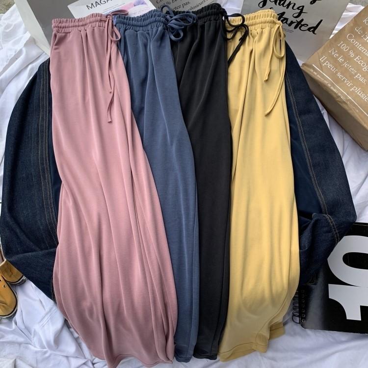 薄款纯色铜氨丝休闲裤女夏季新款韩版垂感高腰阔腿裤宽松拖地长裤正品保证