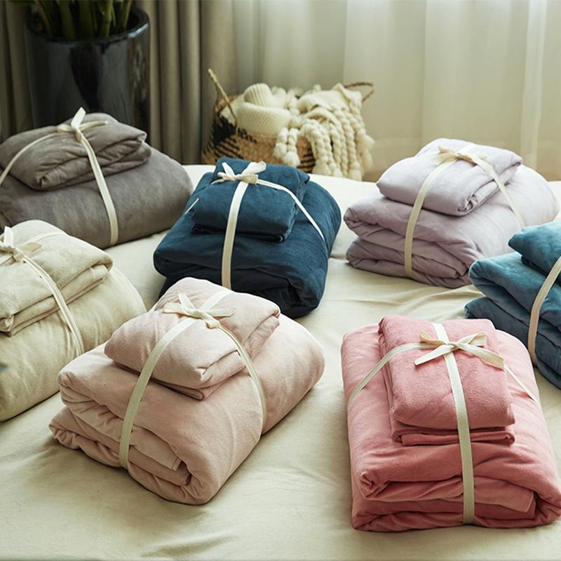 天竺棉四件套丨裸睡针织棉纯棉床上用品 简约条纹被套床单全棉100