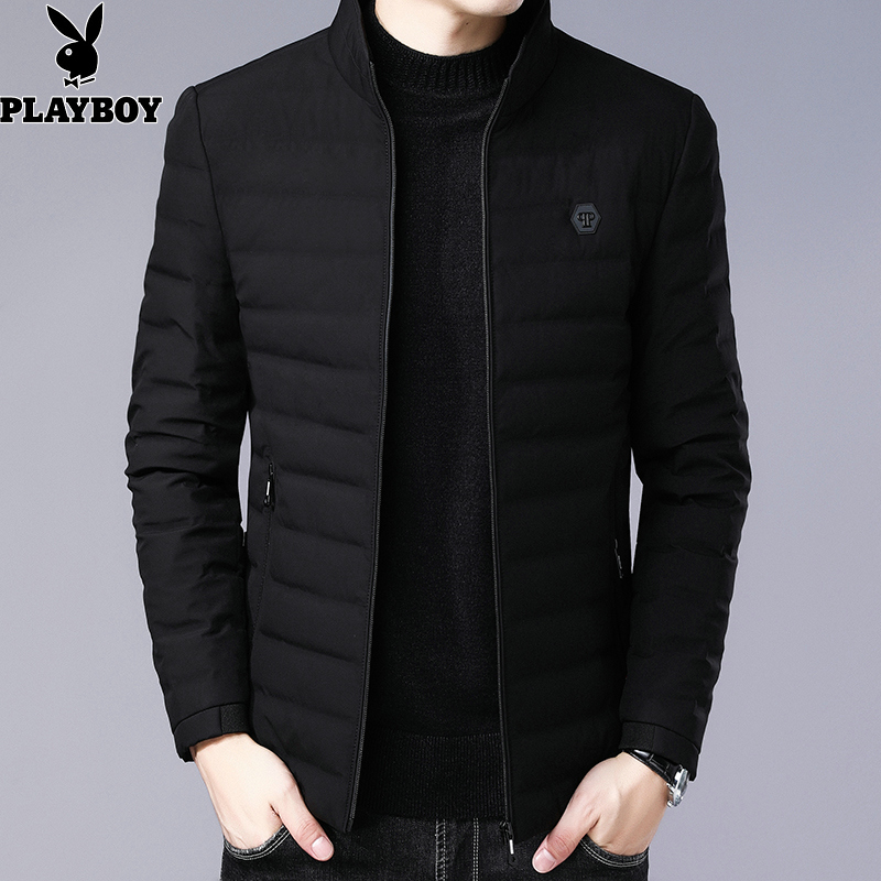 Playboy down jacket mens new winter 2019 warm lightweight stand collar jacket mens fashion casual coat