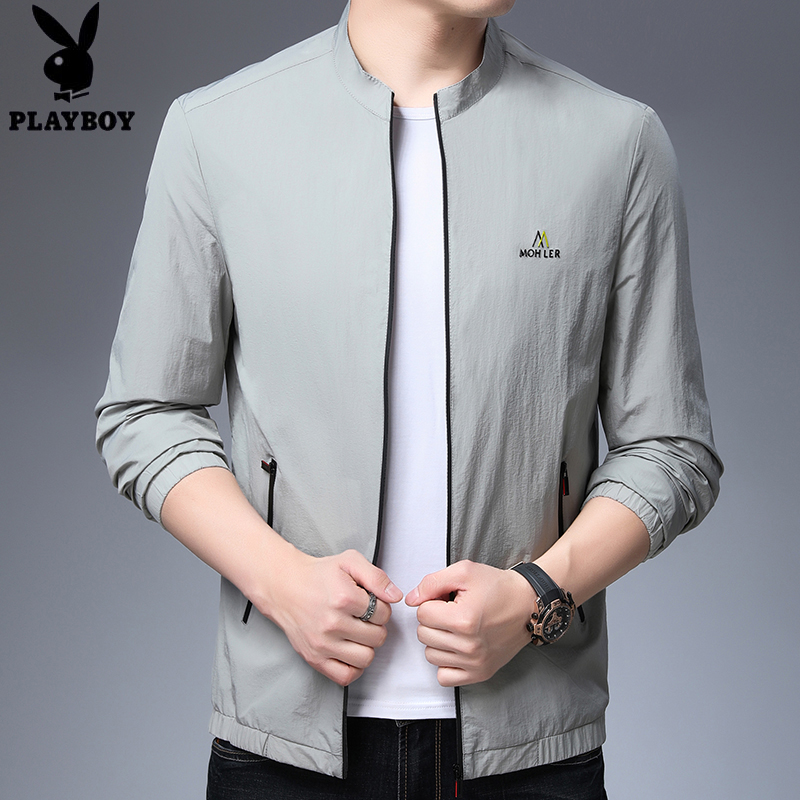 Playboy sunscreen mens summer outdoor ultra thin breathable trend quick drying jacket stand collar jacket mens coat