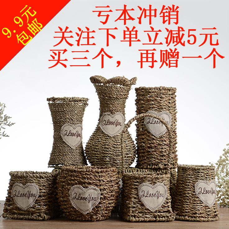 Незабудка действительно цветок сухие цветы сельская местность ротанг солома корзины домой гостиная настенный декоративный украшение цветочный горшок ваза