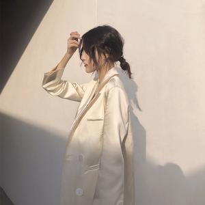 chic网红小西装外套2020春季赫本法拉气质复古西服上衣女宽松港风图片