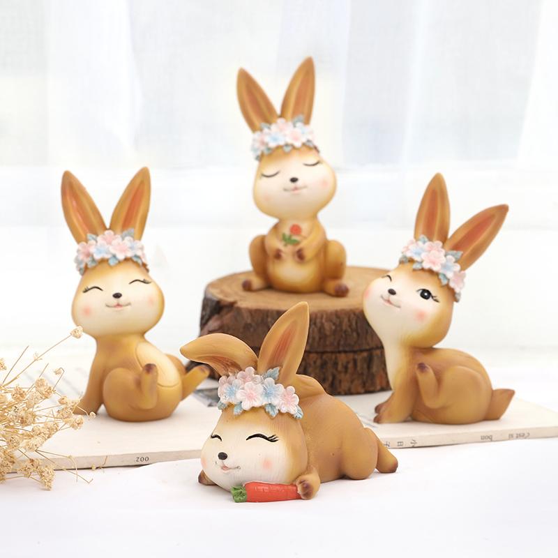 兔子摆件家居饰品摆设品小创意树脂卡通动物办公桌面装饰礼品礼物