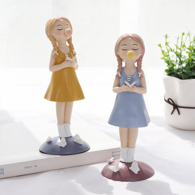泡泡女孩小摆件创意家居饰品客厅电视柜酒柜装饰品美式可爱摆设品