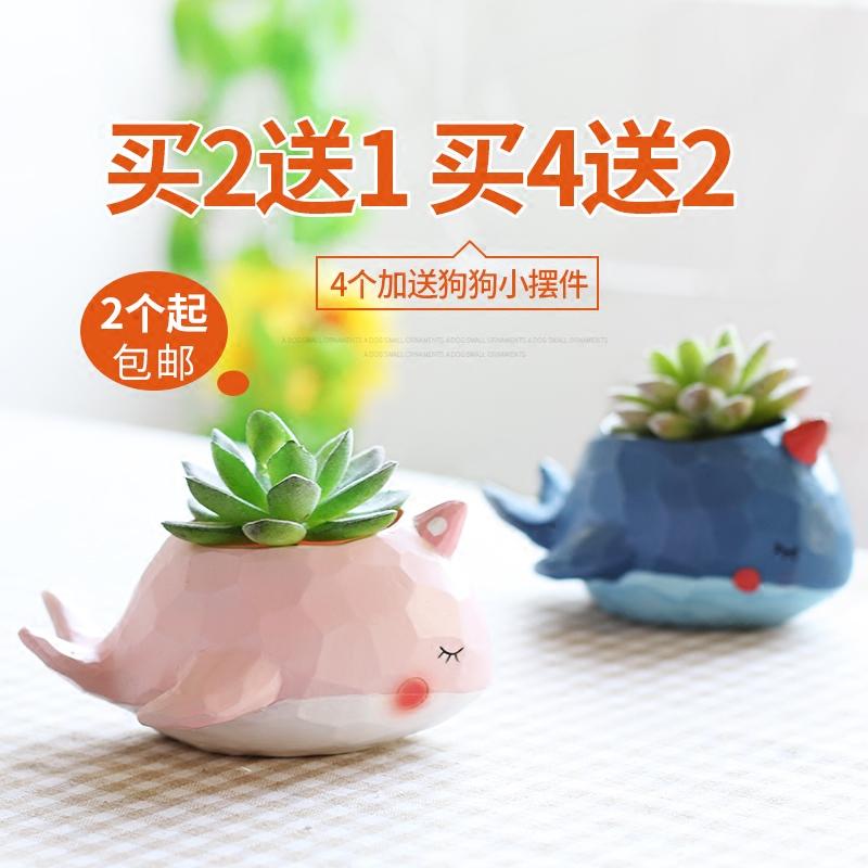 zakka创意盆栽花园派对可爱多肉花盆卡通鲸鱼动物植物装饰小摆件