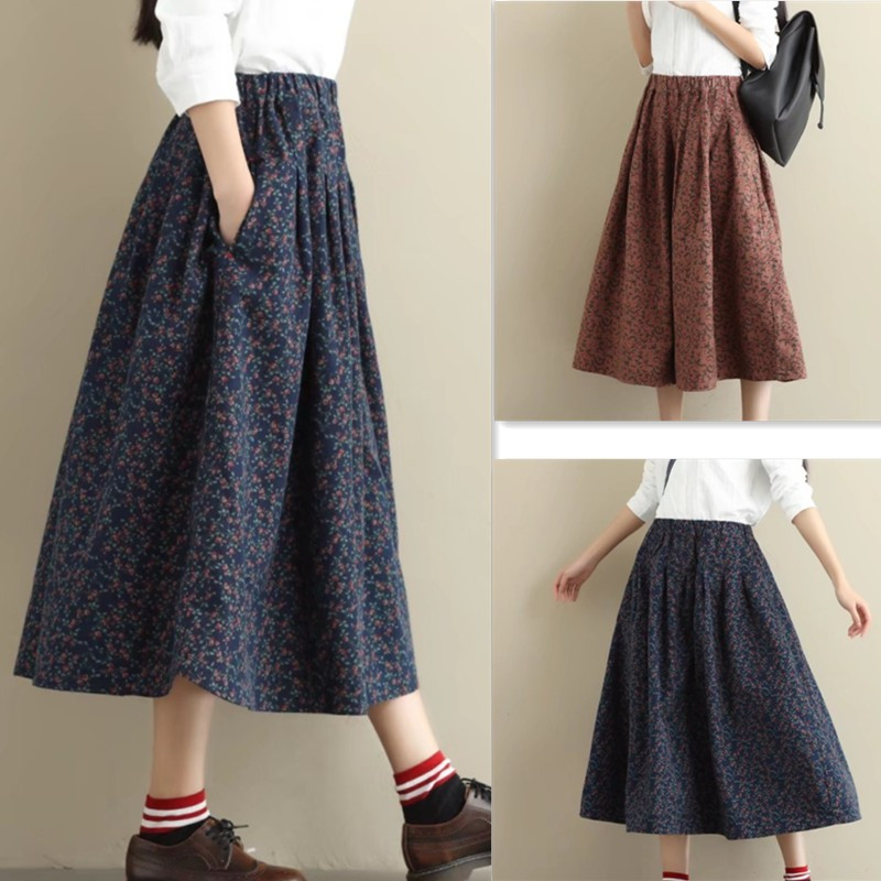 Spring, summer and Autumn New Vintage cotton skirt medium length loose printed cotton A-line pleated umbrella skirt swing skirt