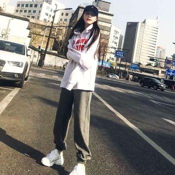 秋季港味运动休闲套装女2018春秋装新款BF原宿风卫衣阔腿裤两件套