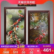 中式玄關裝飾畫豎版過道走廊掛畫現代客廳臥室墻畫九魚圖手繪油畫