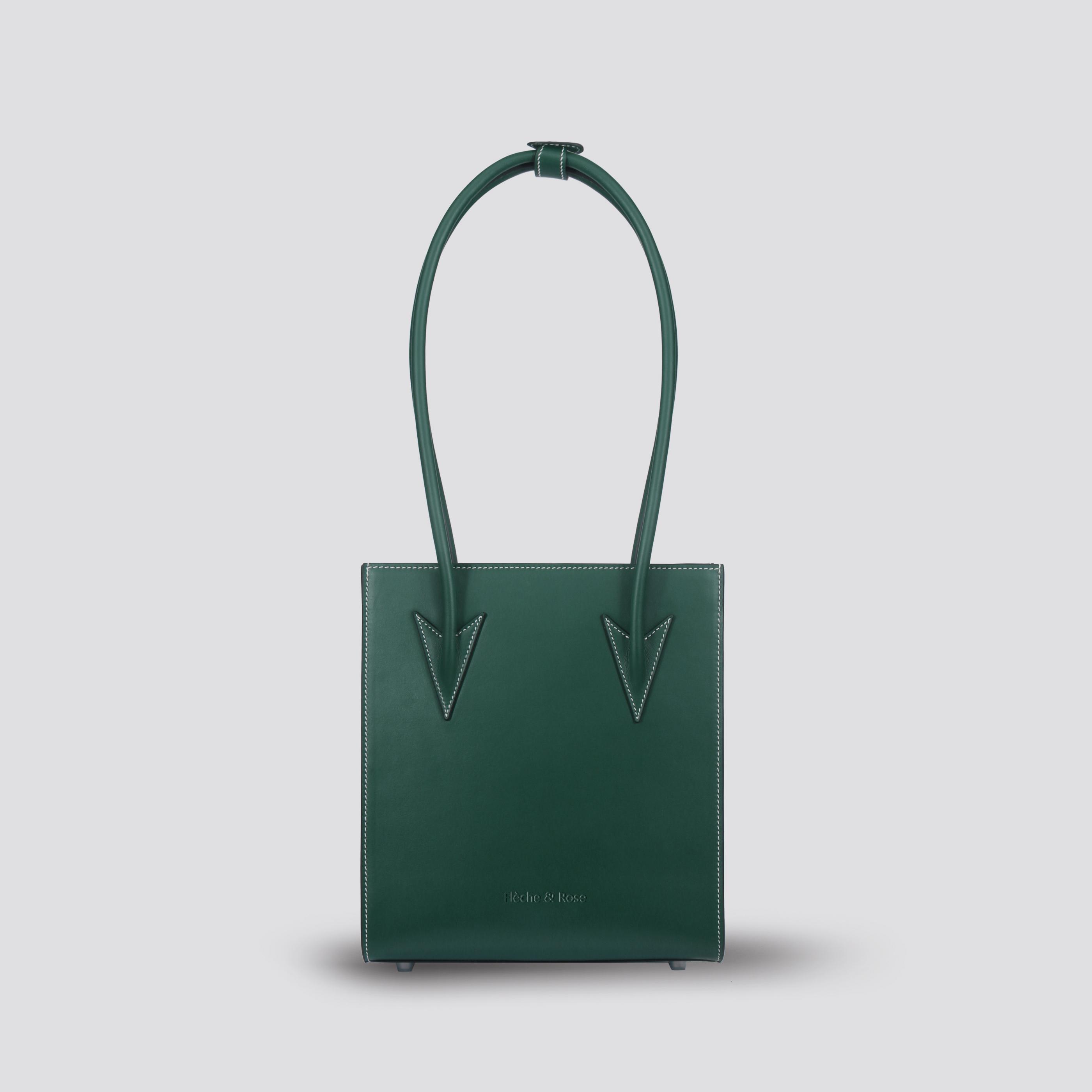 Flecherose arrow long wrist handbag piano score bag vertical casual cowhide underarm bag small green
