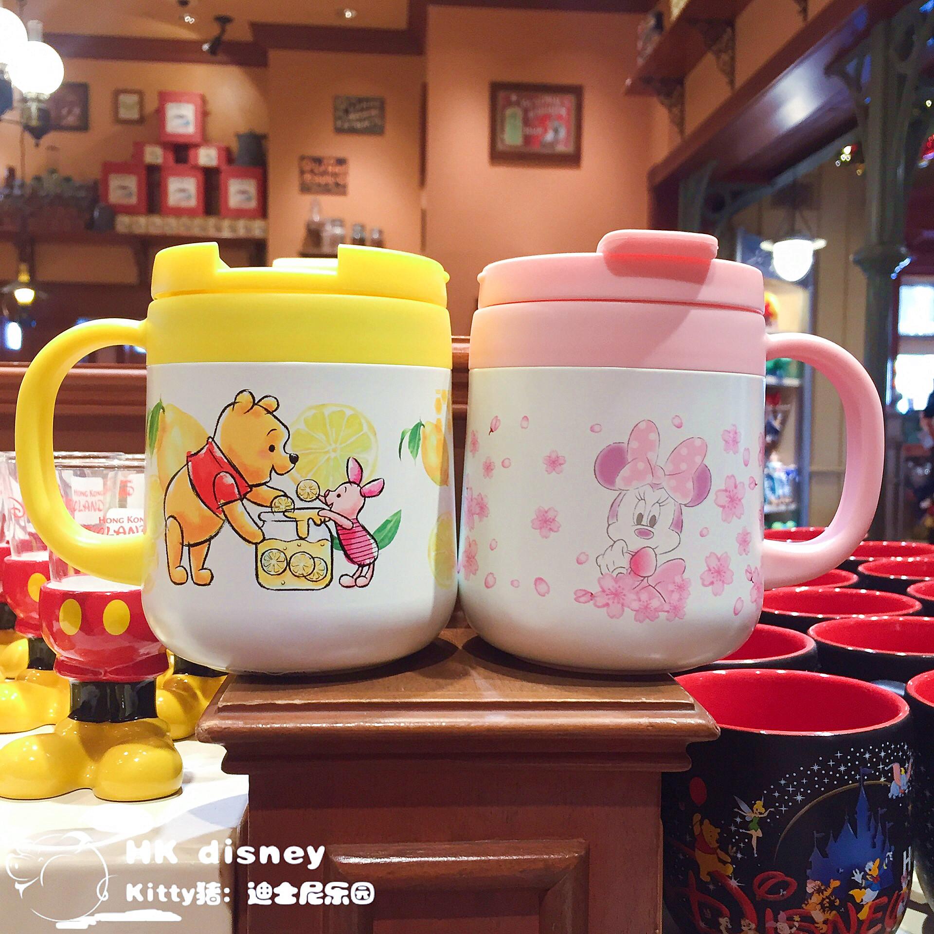 香港迪士尼 米妮 维尼熊 卡通儿童不锈钢水杯 保温杯 带盖子 水壶