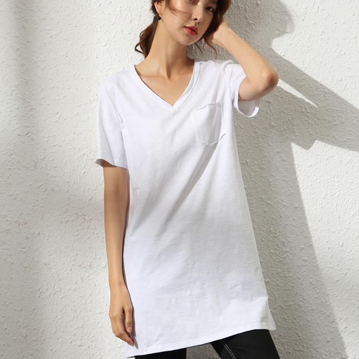 (用121元券)夏装白色竹节棉t恤女短袖宽松体恤纯棉V领打底衫百搭丅中长款上衣