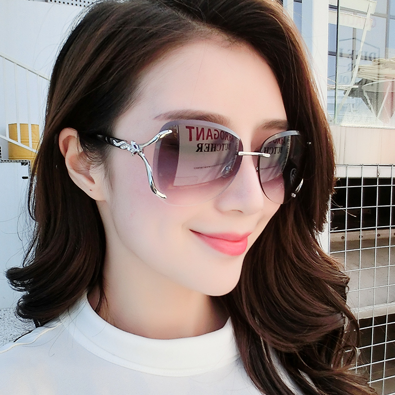 Sunglasses Womens fashion 2021 star net red large frame thin round face frameless trimming glasses fashionable and elegant Sunglasses