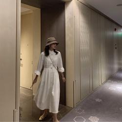 ASM ANNA◆干净利落的单排扣长裙显瘦显高 极简风立领气质连衣裙