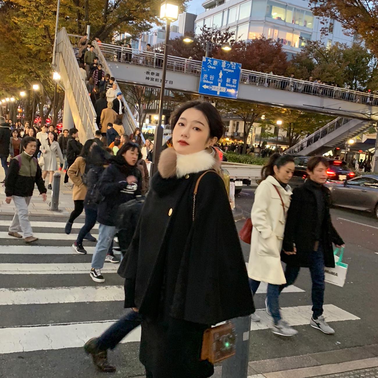 ◆ASM◆2018冬季新款气质斗篷大衣休闲裤半身裙时尚毛呢套装女装