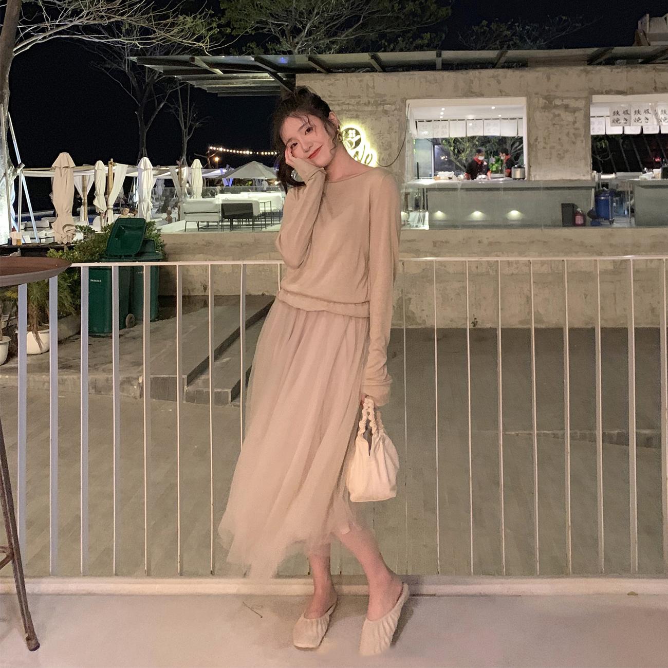 ◆ASM◆2019春季新款气质假两件纱裙打底连衣裙中长款裙子女装