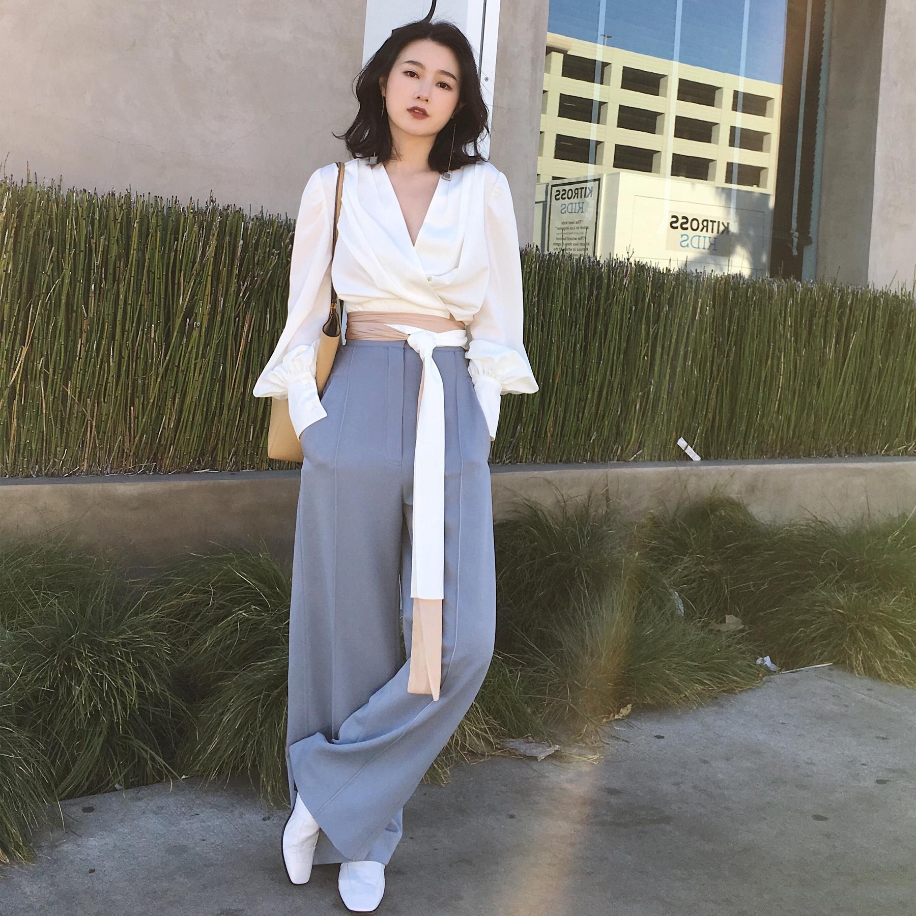 ◆ANNA◆2018春装新款 时髦撞色腰带衬衫V领长袖衬衣时尚女装白色