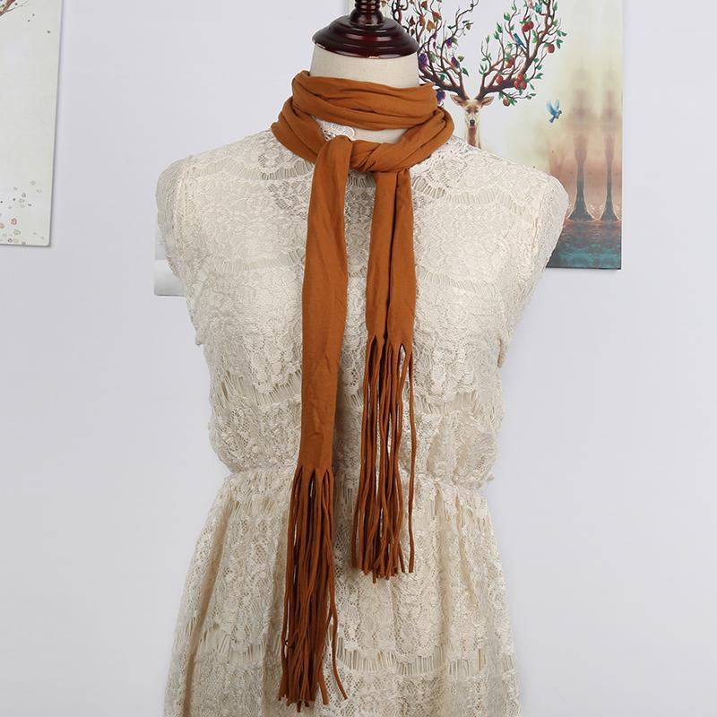 春夏季韩版细窄流苏小领巾百搭长条纯色清新丝巾女士头巾棉质围巾